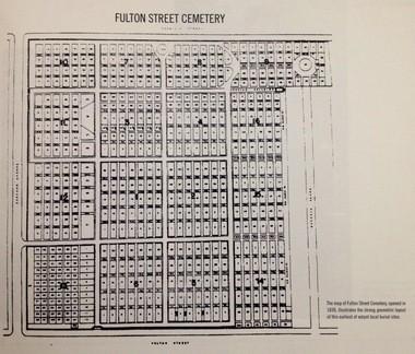 A plot map of Fulton Street Cemetery, 801 E. Fulton St.