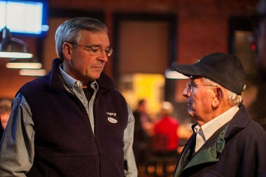 Grand Rapids Mayor George Heartwell and former mayor John Logie talk during an election watch party on Nov. 4. Because city voters approved term limits, Heartwell is ineligible to seek re-election next year.