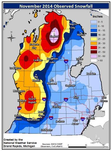 Total snowfall accumulations in November 2014 across Michigan's Lower Peninsula.