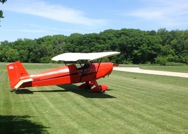 Photo of Louis C. Seno Jr.'s father's Corben Junior Ace aircraft that he and his wife, Christine, donated for display at the West Michigan Aviation Academy, along with $150,000 in scholarship support for those graduates attending Embry-Riddle Aeronautical University. Seno is vice president for corporate relations and government affairs at the university.