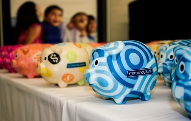 Photo of the Comerica piggy banks Kentwood's Valleywood Middle School students received Wednesday, Dec. 10, 2014, when they opened savings accounts in their new in-school bank.