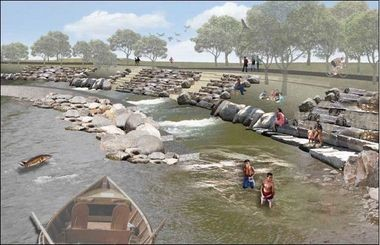 Grand Rapids is studying how to provide better flood protection and better river access at the same time. Some parts of the riverbank could look something like this artist rendering.