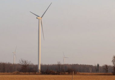 Wind turbines, similar to these at a Gratiot County wind farm, are a source of controversy in the Upper Peninsula over bird deaths and noise.