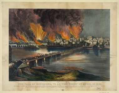 A painting depicting the fall of Richmond, Va. in 1865.