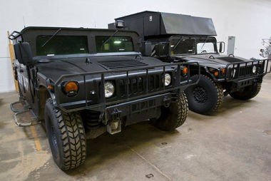 Two Humvees inside the Allegan County Sheriff's Department Monday, April 6, 2015. The sheriff's department has acquired surplus military vehicles and equipment. (Cory Morse | MLive.com)