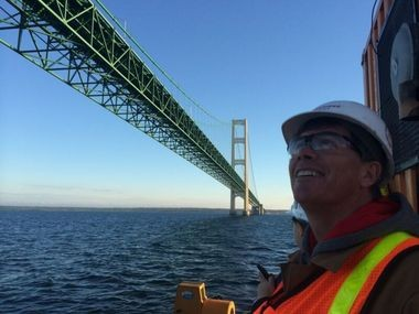 An MLive reporter was in the Straits of Mackinac in 2014 as Enbridge did maintenance work on its pipelines. (MLive photo / Fritz Klug)