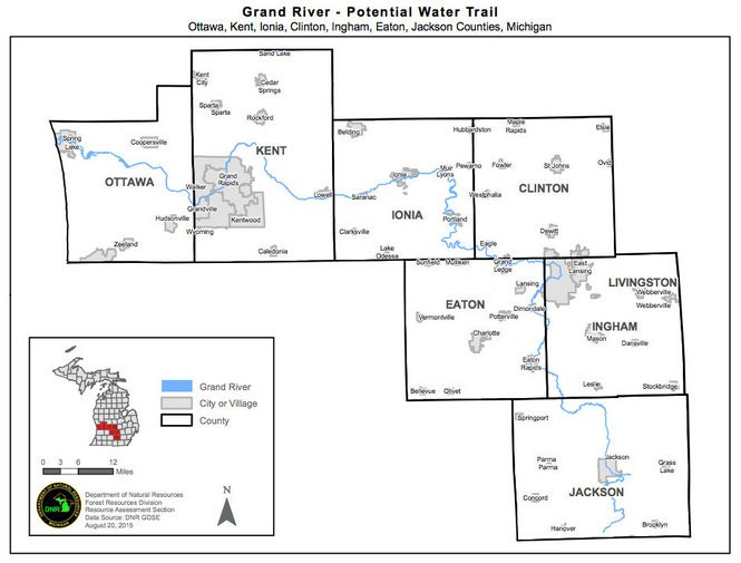 DNR map shows proposed Grand River Water Trail.