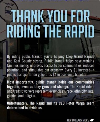 A flier distributed by union members at The Rapid Central Station and bus stops.