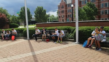 Some of the 60 students enrolled in the new Grand Rapids Public Museum School work on assignment designed to introduce them to their school community at Grand Valley State University in August. Students attended a three-day orientation Aug. 19-21.