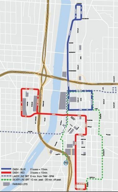 Grand Rapids will reconfigure Downtown Area Shuttle, or DASH, routes and sponsor free Silverline bus rides starting Sept. 1, when a spike in parking rates is planned to take effect.