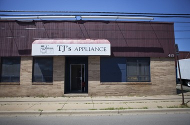 The former TJ's Appliance shop at 413 Hall St. SE in Grand Rapids was demolished in 2013. The site was a dry cleaners between 1921 and 1995.