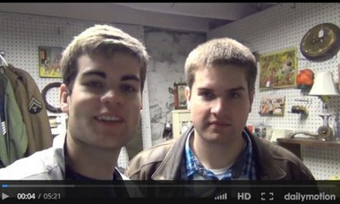 Zach Sweers (left and in lighter jacket) and his brother are pictured at the beginning of an April 30 video