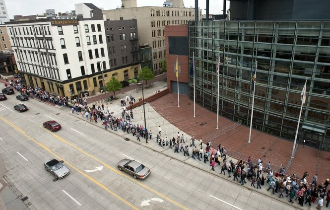 Fans wait in line outside Van Andel Arena to watch Garth Brooks perform in Grand Rapids Thursday, May 12, 2016. It was the first of six scheduled shows over four days. (Cory Morse | MLive.com)