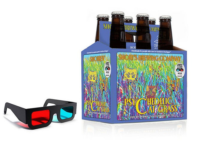 A six pack of Short's Brewing's Psychedelic Cat Grass comes with a pair of 3-D glasses to look at the six pack box with. The cats will jump out at viewers once they have the glasses on.