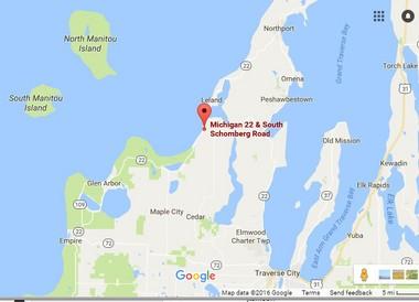 The location of a triple-fatal crash in Leelanau County on Saturday, Aug. 20