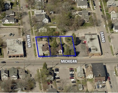 The location of a proposed four-story, mixed-use building on the 600 block of Michigan Street NE.