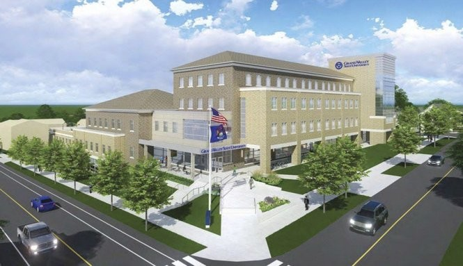 A rendering of Grand Valley State University's $37.5 million Health Sciences building planned for 500 Lafayette Ave. on its 11-acre health sciences campus. Construction is expected to begin in December with a move in date of May 2018. A $9 million 240-space parking deck is also planned.