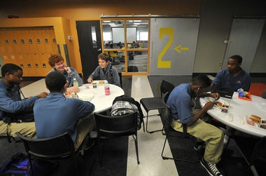 Photo of students at the West Michigan Aviation Academy, a charter high school, founded by Dick and Betsy DeVos, which opened in 2010.