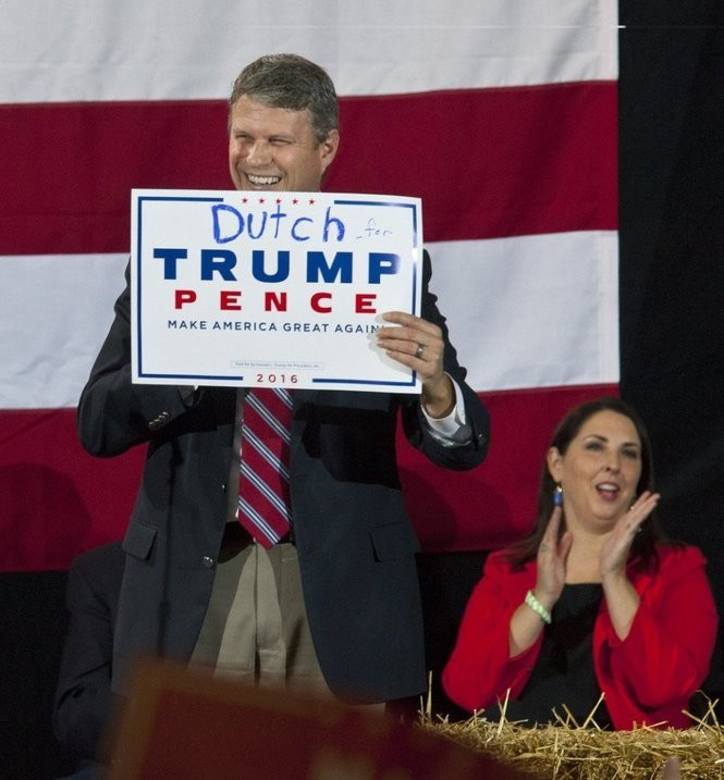 U.S. Rep. Bill Huizenga, R-Zeeland, fires up the crowd as they wait for Republican presidential candidate Donald J. Trump to speak at the Deltaplex in Grand Rapids on Monday, Oct. 31., 2016. Also pictured is Ronna Romney McDaniel, chair of the Michigan Republican Party. (Cory Morse | MLive.com).