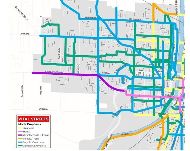 A graphic produced by the city of Grand Rapids' Vital Streets plan showing transit modes identified for major streets on the West Side. Commuter bicycle routes are shown in blue, community bike routes are in green, transit routes for buses and streetcars are in pink, vehicle-only routes are in gold and blended routes are in light yellow. (Courtesy | City of Grand Rapids)