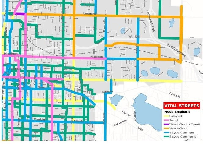 A graphic produced by the city of Grand Rapids' Vital Streets plan showing transit modes identified for major streets east of downtown. Commuter bicycle routes are shown in blue, community bike routes are in green, transit routes for buses and streetcars are in pink, vehicle-only routes are in gold and blended routes are in light yellow. (Courtesy | City of Grand Rapids)