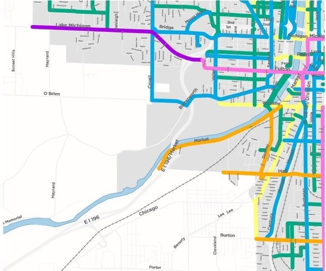 A graphic produced by the city of Grand Rapids' Vital Streets plan showing transit modes identified for major streets southwest of downtown. Commuter bicycle routes are shown in blue, community bike routes are in green, transit routes for buses and streetcars are in pink, vehicle-only routes are in gold and blended routes are in light yellow. (Courtesy | City of Grand Rapids)