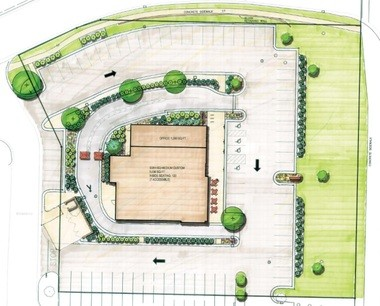 A rendering showing the landscaping plan for Chick-fil-A's proposed location at 2183 E. Beltline Avenue NE at Celebration Village in Grand Rapids. The restaurant is re-submitting plans for a drive-through this January after the Planning Commission denied its proposal in October 2016. Contributed.