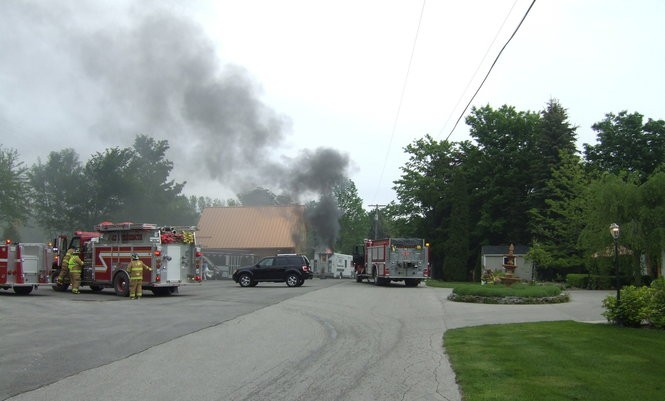 The scene of a food-truck fire that severely injured a man in Northern Michigan.