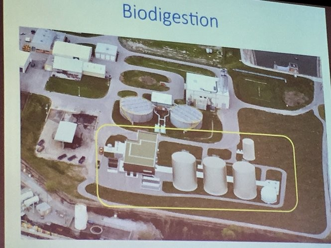 A photo of a presentation slide showing where a biodigester would be added to the Grand Rapids Water Reclamation Facility.