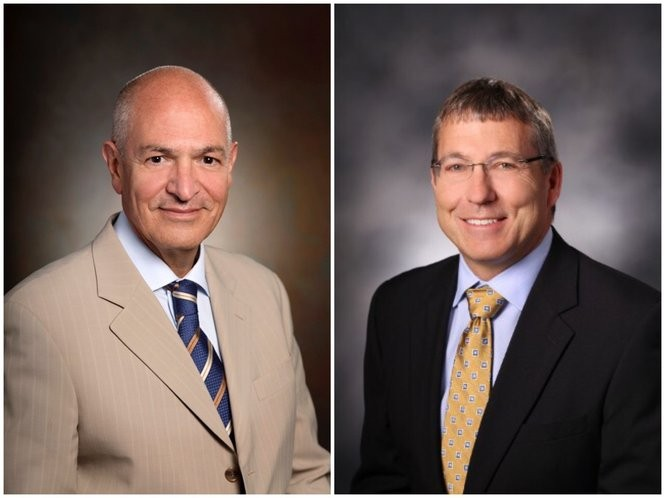 Dr. Asghar Khaghani, left, will be succeeded by ardiothoracic surgeon Theodore J. Boeve as the director of Spectrum Health's heart and lung transplant program.