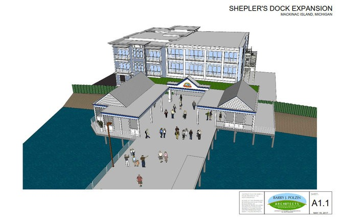 A drawing shows the concept for expansion plans at Shepler's Mackinac Island Ferry's dock on Mackinac Island.