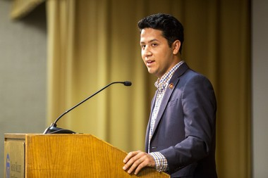 Andres Chavez, the grandson of Cesar E. Chavez, who is a civil rights and immigration reform activist, will give the keynote address at the awards gala Thursday, Oct. 19, at GVSU's Eberhard Center.