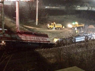 The first cars of a freight train derailed Tuesday, Feb. 20 underneath 28th Street SW at U.S. 131
