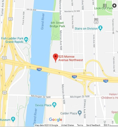 The location of county riverfront property being sold to Grand Rapids