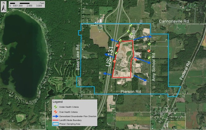 Michigan Department of Environmental Quality map showing the location of PFAS contamination testing at the Central Sanitary Landfill in Pierson Township, as well as a preliminary water well testing boundary and general direction of groundwater flow.