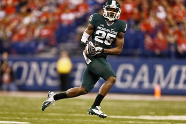 Michigan State University wide-out Keith Mumphery catches a touchdown pass in December 2013.