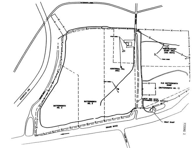 A diagram of the Butterworth landfill in Grand Rapids, which is classified as a Superfund site by the U.S. EPA due to heavy contamination. The site was owned and operated by the city of Grand Rapids from 1950 to 1973, and remains owned by the city. It has since been capped. (Courtesy | U.S. EPA)