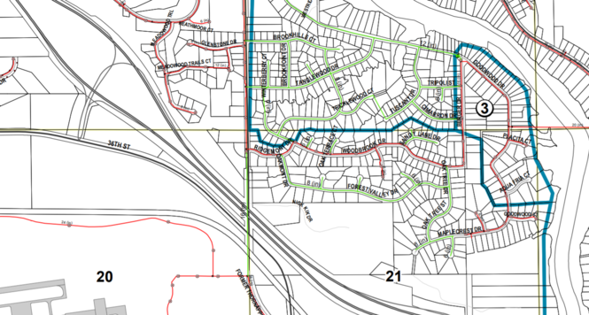 Water mains present and planned in the Thornapple neighborhood. Red lines indicate existing mains. Green lines indicate future mains. No major changes have happened since the township commissioned the water main map in 2011, according to township officials.
