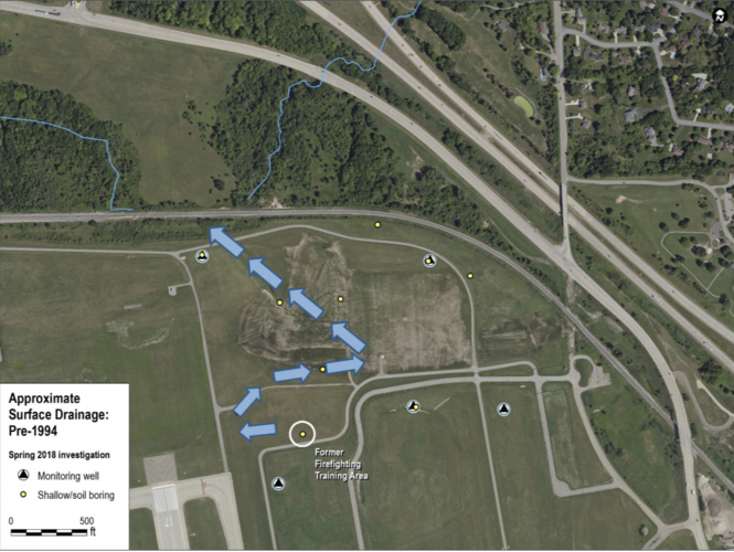 LimnoTech map showing the surface water pathway from Ford Airport's former firefighter training area to a creek which runs through the Thornapple neighborhood and eventually drains into the Thornapple River.