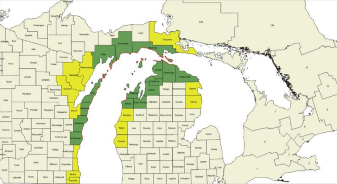 Counties in green would have damage to recreation and counties in yellow would be impacted to a lesser degree under the worst-case scenario. The red lines indicates oiled shorelines.
