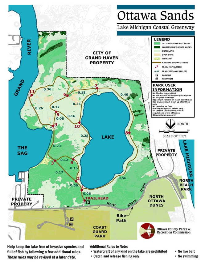 A trail map of the Ottawa Sands park.