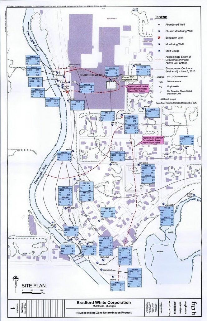 A map of eastern Middleville detailing monitoring and extraction well locations as well as portions of the groundwater plumes.