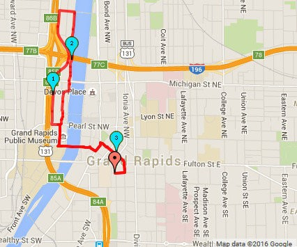 The 5k course will be a single loop, starting and finishing at HopCat, with much of the course on Grand Rapids' Riverwalk.