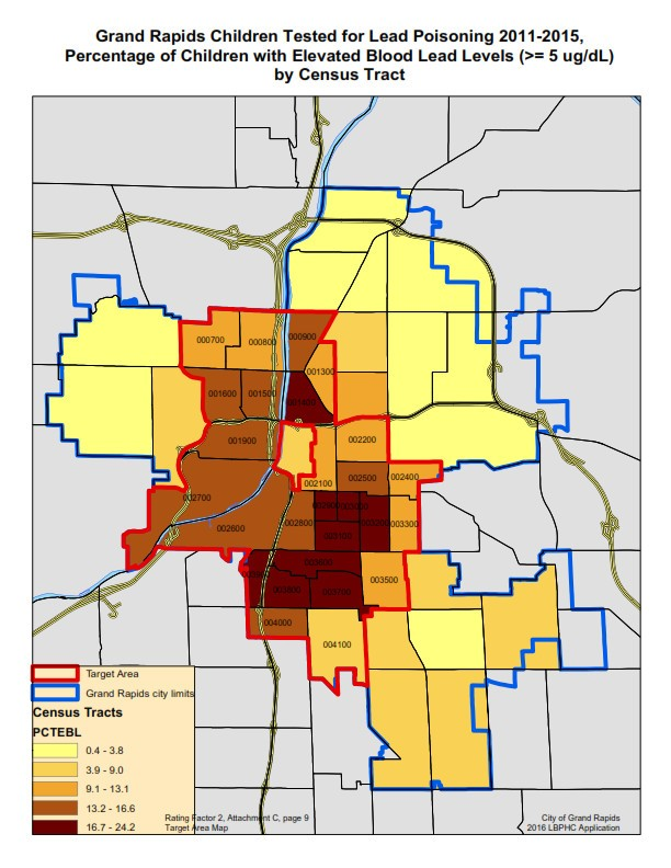 "A map shows Census tracts in Grand Rapids where tests show children have elevated lead levels, and a ""target area"" advocates have identified."