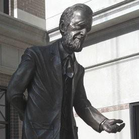 A bronze statue at Cooley Law School's Grand Rapids campus.