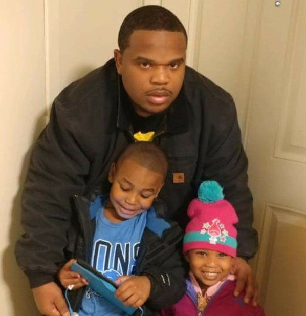 Curtis Swift Jr., 26, with his children, Curtis Swift Jr., 8, and Journey Holloway, 3.