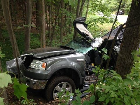 The scene of a triple-fatal crash in Leelanau County on Saturday, Aug. 20
