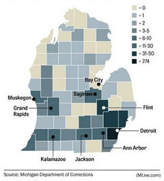 Click to view an interactive map to see which Michigan counties paroled killers live in.