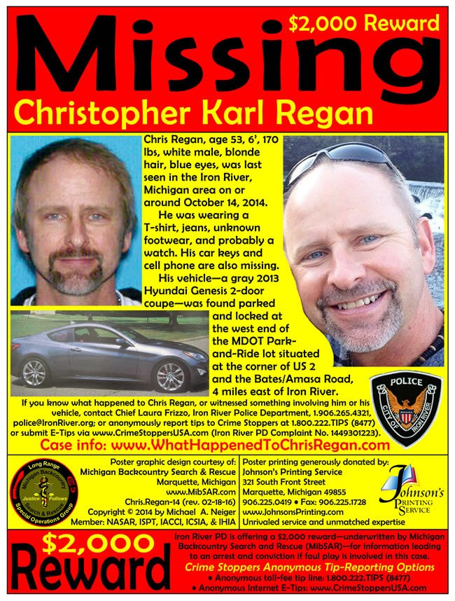 The missing poster for alleged homicide victim Christopher Regan (Photo courtesy of Iron River Police)
