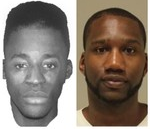 A composite drawing of alleged rapist is on left. Xavier Davis' photo on is right.